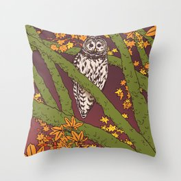 Barred Owl & Maple Throw Pillow