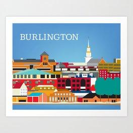 Burlington, Vermont - Skyline Illustration by Loose Petals Art Print