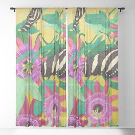 Butterflies and Passion Flowers Sheer Curtain