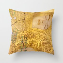 Gustav Klimt - Water Serpents, 1 (detail) Throw Pillow