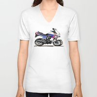 honda V-neck T-shirts featuring 1983 Honda CX650TD Turbo by Saddle Bums