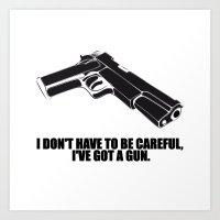 gun Art Prints featuring gun by muffa