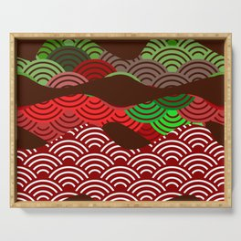 scales simple Nature background with japanese wave circle pattern dark brown burgundy maroon green Serving Tray