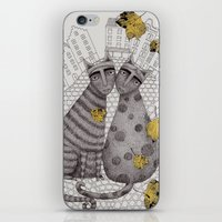 hats iPhone & iPod Skins featuring Two Cats Without Hats by Judith Clay