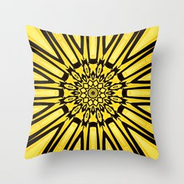 Conceptual abstract yellow flower pattern with sun star ray bursts forming an ornate center design Throw Pillow