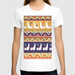 Seamless pattern with lamas and geometrical ornaments T-shirt