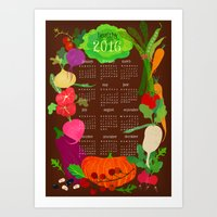 calender Art Prints featuring Veggie Calender 2016-brown by Darling Planet Earth