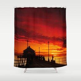A Huntington Beach Pier Sunset Shower Curtain