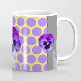 PURPLE SPRING PANSIES  LILAC POLKA DOT  PATTERN Coffee Mug