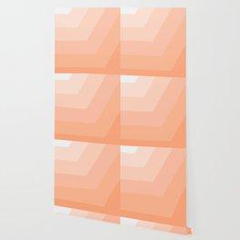 White, peach, coral, horizontal, diagonal stripe Wallpaper