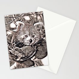 Rustic Style - Red Panda Stationery Cards