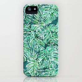 JUNGLE VIBES Green Monstera Watercolor Print iPhone Case