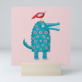 Crazy Crocodile and his Little Bird Mini Art Print