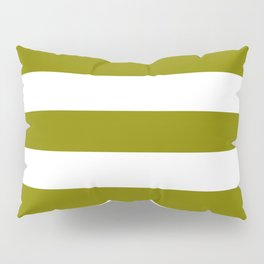 Olive - solid color - white stripes pattern Pillow Sham