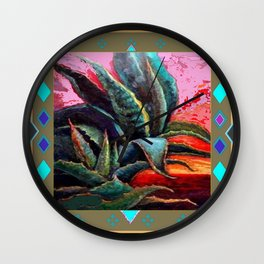 PUTTY COLOR ART DECO SOUTHWEST DESERT AGAVE Wall Clock