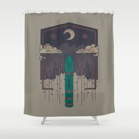 occult Shower Curtains featuring The Lost Obelisk by Hector Mansilla