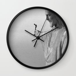Christ the Redeemer, Rio de Janeiro, Brazil death defying dare devil black and white photography Wall Clock