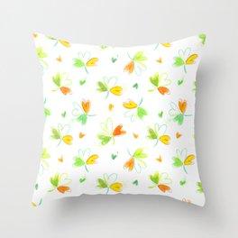 Watercolor Irish Flag Shamrocks Throw Pillow