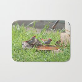 Red Browed Finches Bath Mat