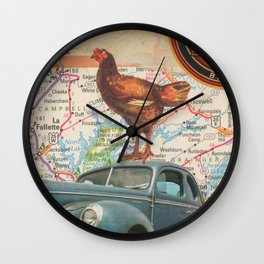 Rooster Road Trip - Vintage Collage Wall Clock