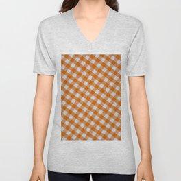 Orange classic checkered tablecloth texture Unisex V-Neck