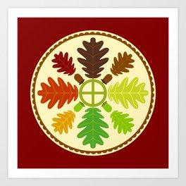 Mighty Oak Folk Art Hex Sign Art Print