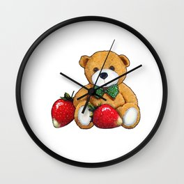 Teddy Bear With Strawberries, Illustration Wall Clock