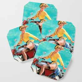Motorcycle Pinup Girl Coaster