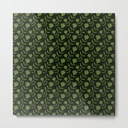 Elegant classy delicate distressed light blooming rose flowers seamless pattern design. Feminine Metal Print