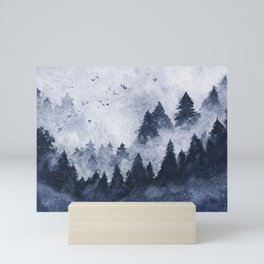 Dark blue misty forest Mini Art Print