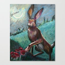 Rabbit Under the Moon Canvas Print