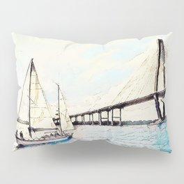 Charleston South Carolina - Sailboat - Arthur Ravenel Jr Bridge Pillow Sham