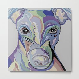 Greyhound in Denim Colors Metal Print