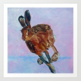 Hare Rabbit and Pink Art Print