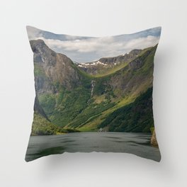 Sognefjord mountain waterfall mountain landscape fjord forest mountains Norwaу Throw Pillow