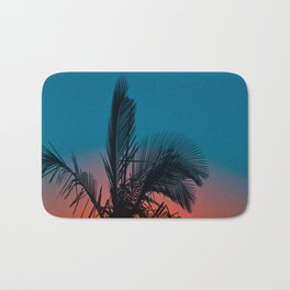 Complementary Colors Orange & Blue Ombre Sunset Minimalist Palm Tree Sunset Silhouette Bath Mat