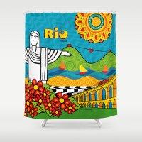 rio de janeiro Shower Curtains featuring Rio de Janeiro 2015 by Monica Fuchshuber