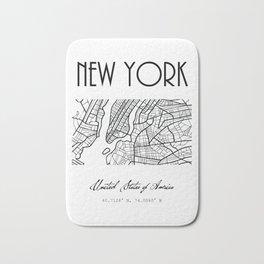 NEW YORK City, USA, Street Map & Coordinates Bath Mat