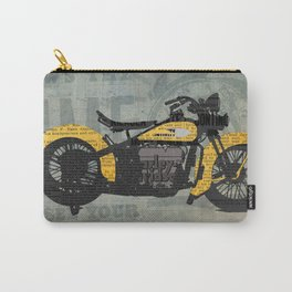 Classic motorcycle yellow and black, newspaper abstract art collage, valentine gift Carry-All Pouch
