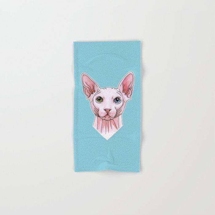 Sphynx cat portrait Hand & Bath Towel