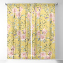 Roses on Gold Sheer Curtain