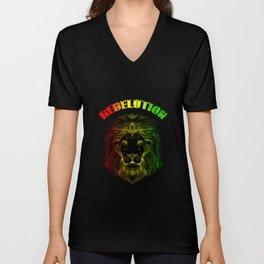 Rebelution Lion T-Shirt Reggae Gift Unisex V-Neck