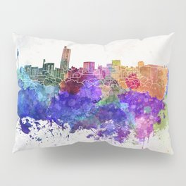 Hiroshima skyline in watercolor background Pillow Sham