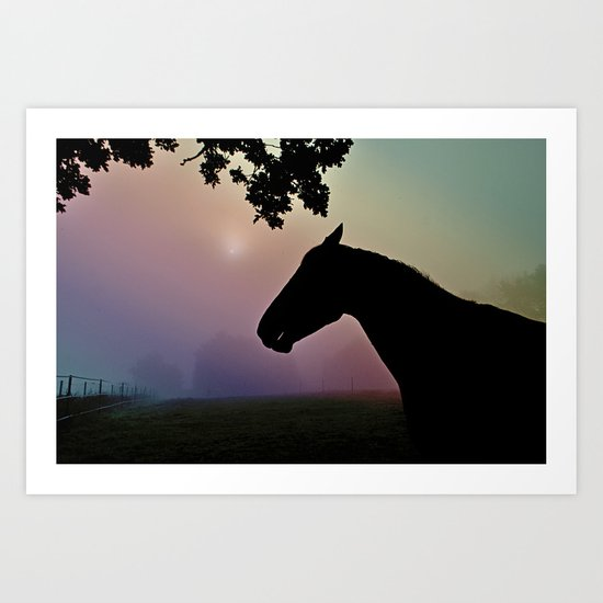 Horse in rainbow and fog Art Print