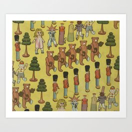 Vintage Christmas Toys and Nut Crackers (1906) Art Print