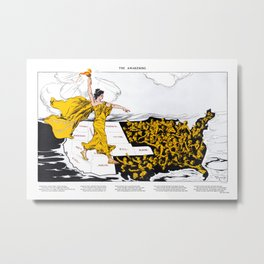 The Awakening - Women's Suffrage Illustration, 1915 Metal Print