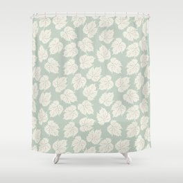 Autumn grape leaves - off white on pastel green Shower Curtain