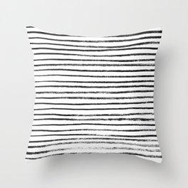 Black Brush Lines on White Throw Pillow