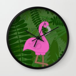 Flamingo Leaves Wall Clock