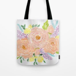 Loose Spring Floral watercolor bouquet Tote Bag